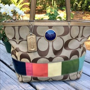 Coach vintage color block signature tote bag